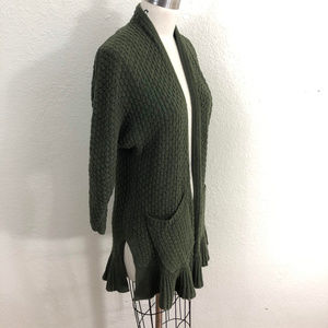 Guinevere Anthropologie Duster Cardigan Sz S Green